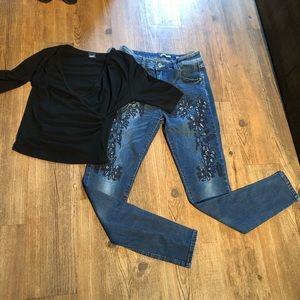 Denim - J Welly Jeans high waisted w/ cutouts & embroidery